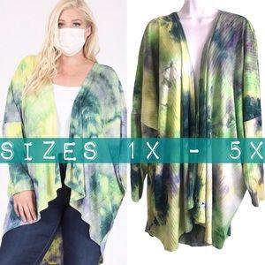 SALE Boutique NWT Green Tie Dye Kimono Cardigan